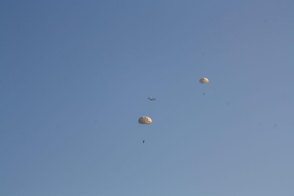 Раскрытые купола парашютистов